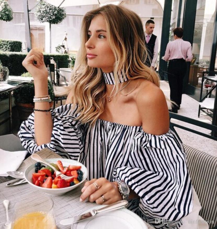 Ladies Fashion Blouse Shirt Women Summer Off Shoulder Top Sexy Short Tees Lantern Sleeve Slash Neck Striped Blouse