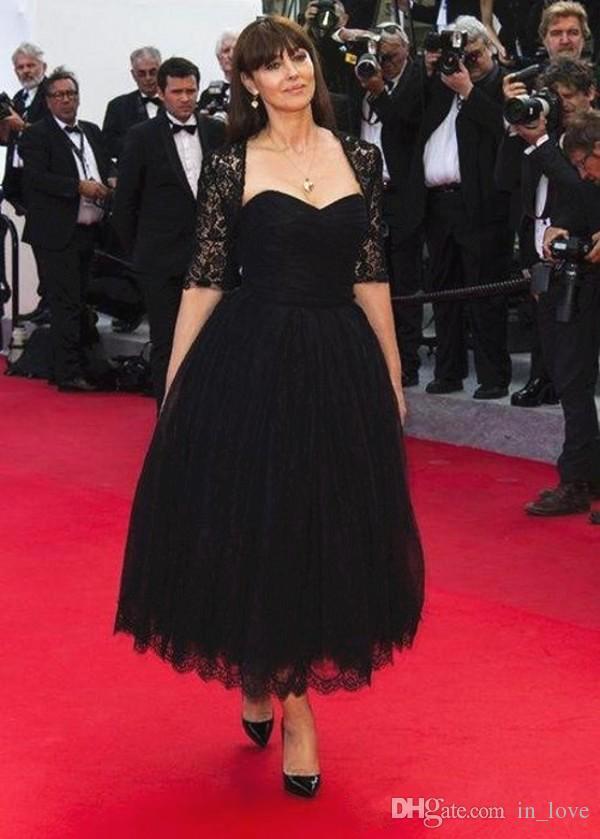 Knöchellanges Vintage Schwarzes Abendkleid mit Jakcet-Spitze, halben Ärmel A-Linie Kurze Brautmutter Dredd Party Kleider Nach Maß