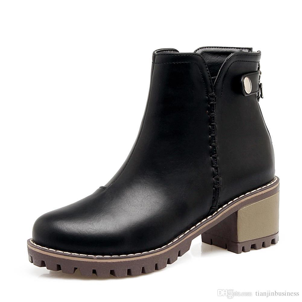 2018 neue Mode Hinzufügen Pelz Große Größe 34-43 Reißverschluss Chunky Heels Stiefeletten Frauen Schuhe Frau Winterstiefel Frau