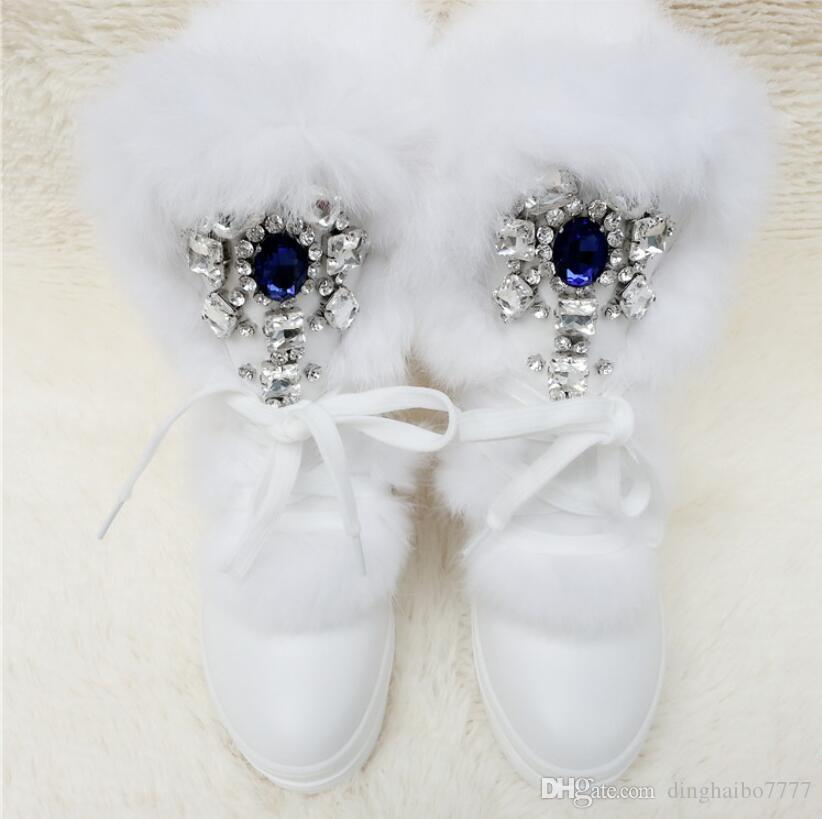 Real Rabbit Fur Winter Boots Rhinestones Diamond Snow Boots Thick Warm High-Top Women Shoes Large Size 41 Winter Boots