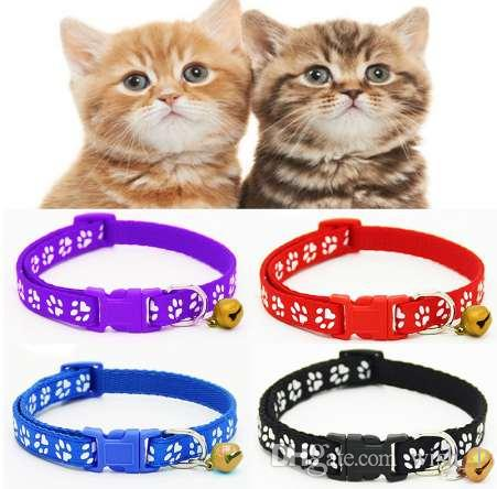 2PCS/Set Hot Lovely Bell Pet Collar Small Footprint Nylon Fabric Cat Kitten/Dog Puppy Chain
