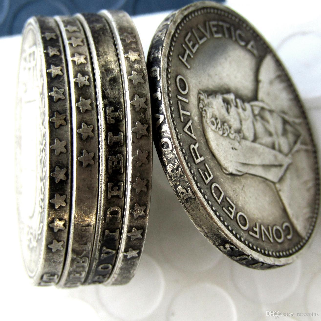 Un ensemble de 1937-1954 5 pièces Suisse (Confédération) Argent 5 Francs (5 Francs) Copie Diamètre de la pièce: 31.45mm