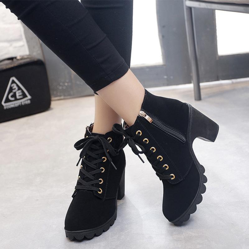 Shoes Woman botas mujer 2018 Winter Boots Women zapatos de mujer Newest PU Buckle Women Boots High Heels Women Casual Shoes