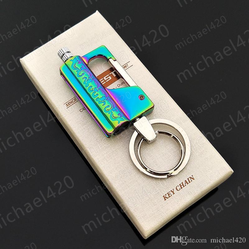세련된 성격 트렌디 한 새로운 디자인 정직 백만 시간 크리 에이 티브 매치 등유 키 체인 방수 휴대용 5 색 라이터