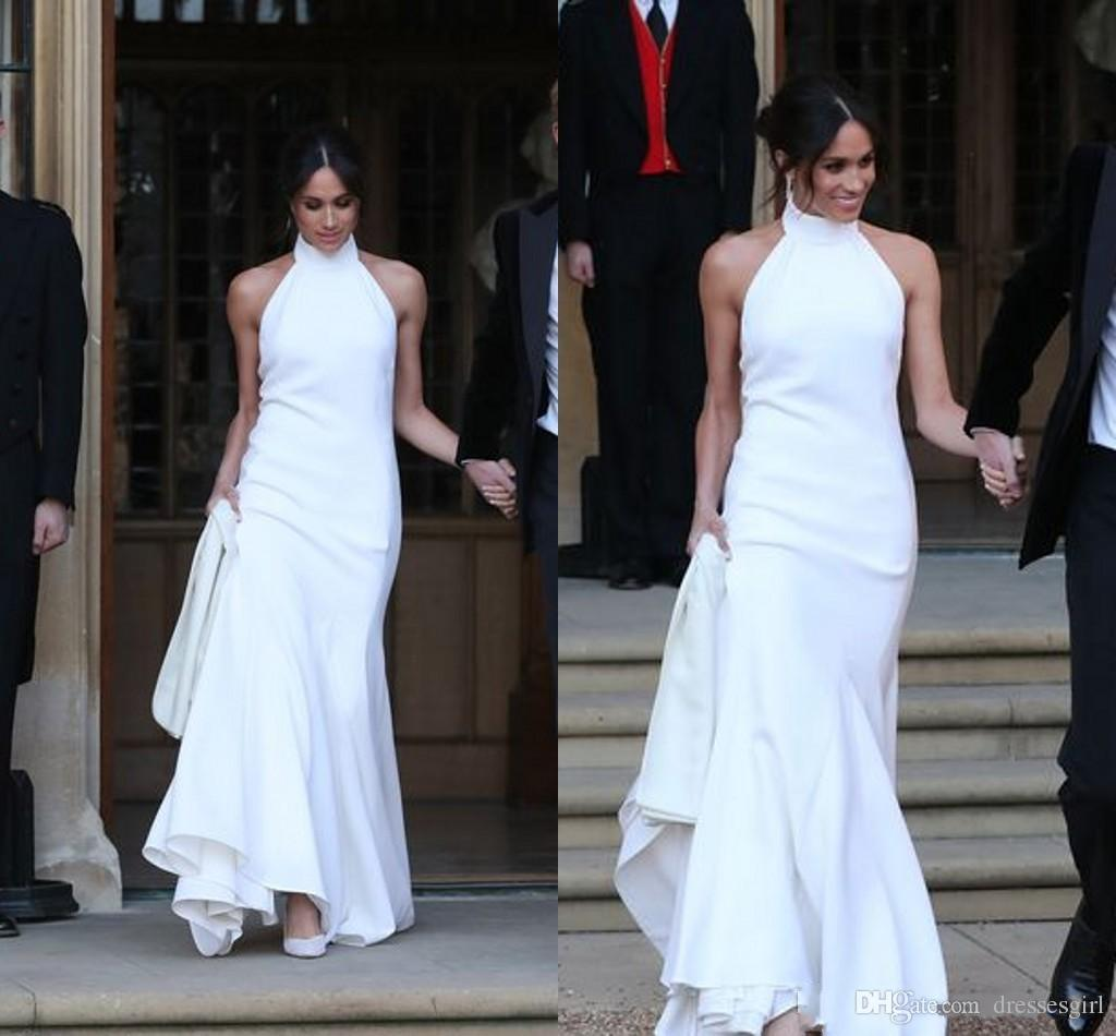 elegant white wedding dresses prince harry meghan markle wedding gowns  halter neck satin wedding recept dress online wedding dresses petite  wedding