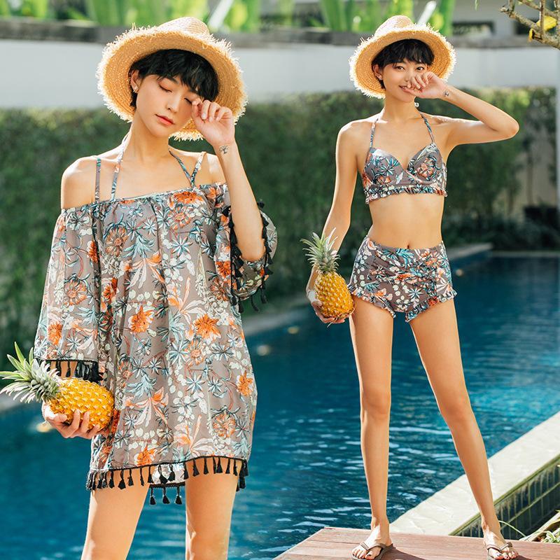 새로운 한국 대형 수영복 3 피스 여성 커버 배꼽 슬림 술 블라우스 스틸 플레이트 모여 높은 허리 비키니 여성