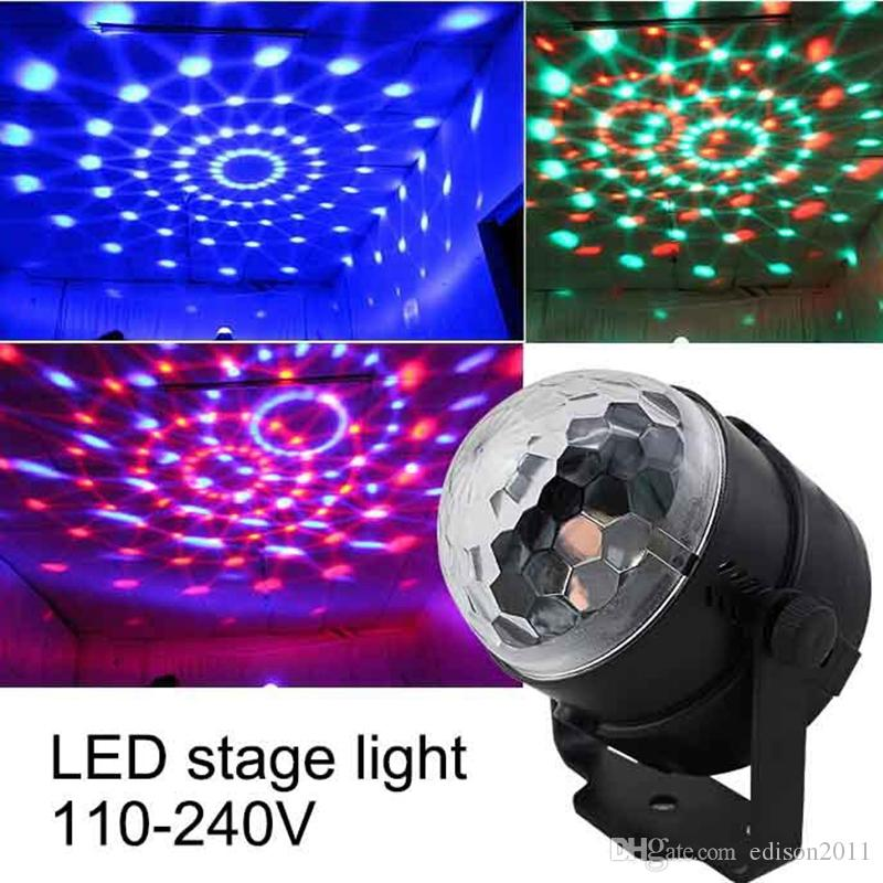 Edison2011 LED RGB Stage Lighting Laser Lamp Sound Activated DJ Disco Lights Magic Crystal Ball Light 3W for Christmas KTV Music Party Club