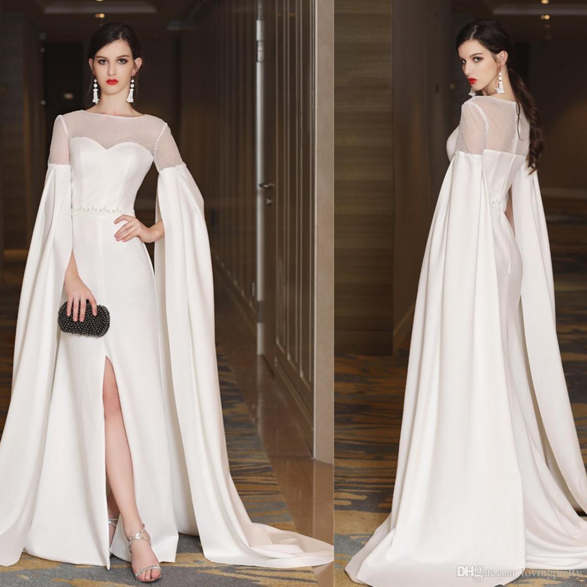 Großhandel JaneVini Elegant Weiß Lange Abendkleider Meerjungfrau Perlen  Lange Ärmel Front Split Reißverschluss Zurück Satin Sweep Zug Pageant Kleid