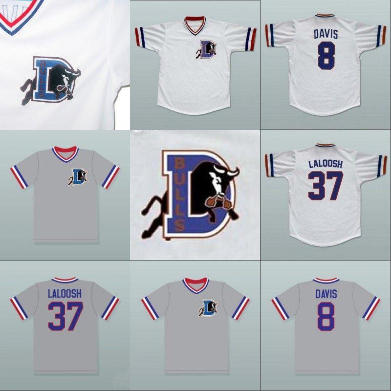 Bull Durham 37 Ebby 'Nuke' LaLoosh 8 Crash Davis Film Jersey 100% cousu bouton cousu rétro Baseball Maillots Blanc Gris Livraison gratuite