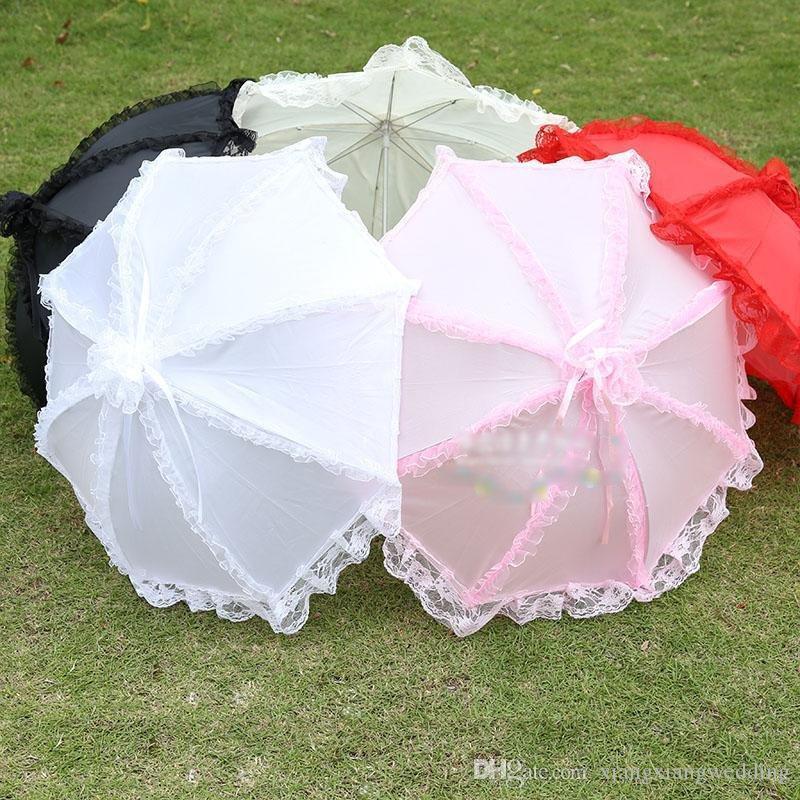 Encaje Parasoles de la boda Paraguas nupcial cinco colores Boda Al aire libre Accesorios de fotografía traje antiguo Niños bailan paraguas