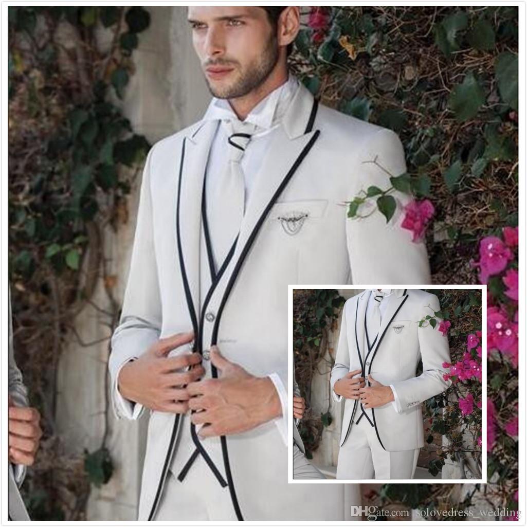 Solovedress Männer Anzug Weiß Slim Fit Drei Stücke GroomsmanTuxedos Jacke Tux Weste Hose Set Bräutigam Formale Hochzeitsanzüge