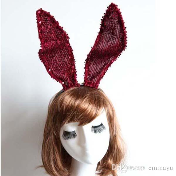 Red Paillettes Lace Long Bunny Ears Headwear Headwear Decorazione della festa nuziale di Halloween