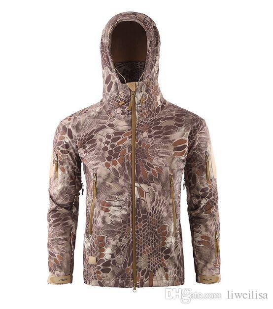 Polar Taktik Softshell Kamuflaj Açık Havada Erkekler Ordu Spor Hoody Giyim Seti Askeri Ceket s av kıyafetleri