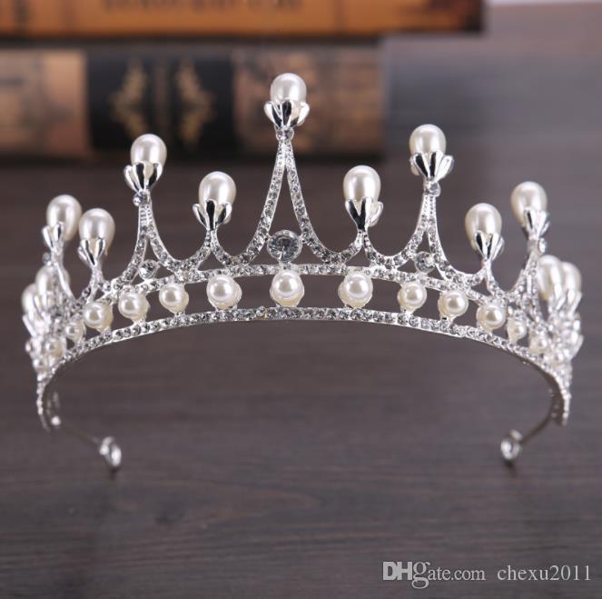 Beyaz Inci Prenses Doğum Günü Taç Kraliyet Kore gelinlik aksesuarları Taç Tiara