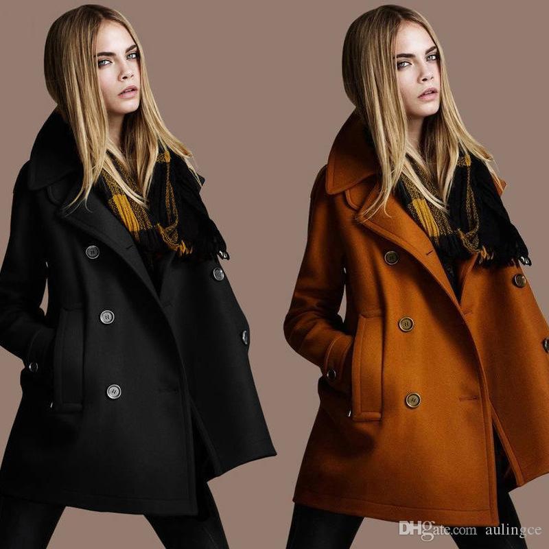 Ceket Kadınlar Harajuku Yün kruvaze yaka Giyim Bombacı Ceket Kış Coat Streetwear Uzun Kollu Ceket Paltolar 3 Renkler