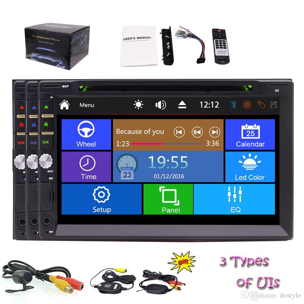 7 pollici per Doppio 2 din Universal Vehicles capacitivo Touchscreen Car DVD Player in Dash Stereo Audio Video Bluetooth / SD / USB / FM / AM