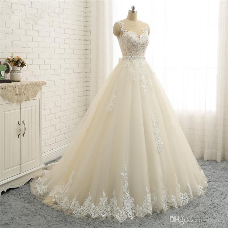 2018 setwell beige pizzo abiti da sposa elegante gioiello organza paese abiti da sposa su misura spiaggia abito da sposa con cintura