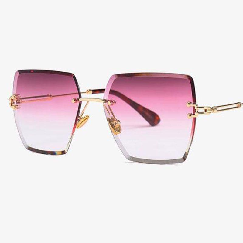 crystal square rimless sunglasses gradient lens transparent clear sun glasses for women luxury vintage brand big ladies eyewear