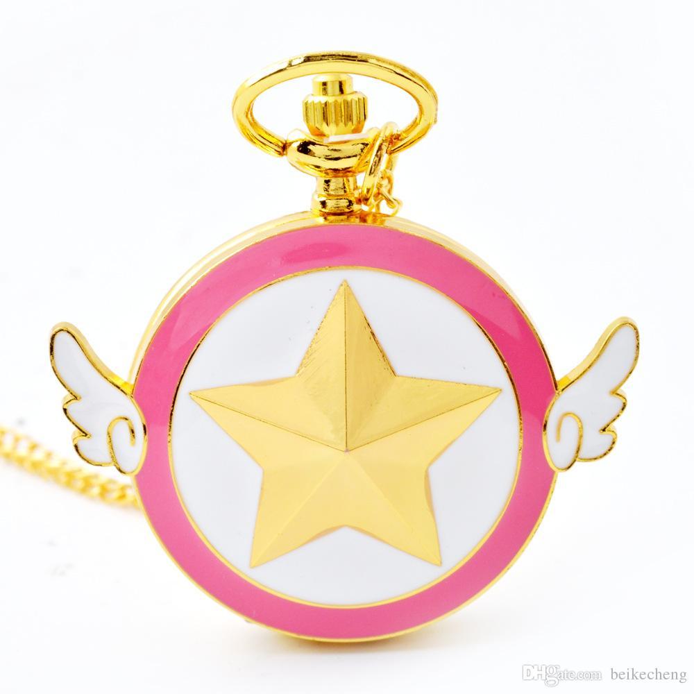 Commercio all'ingrosso 50pcs / lot ashion Lovely rosa orologio da tasca al quarzo Anime Star Wings orologi da tasca magici collana catena ragazze signore orologi PW033