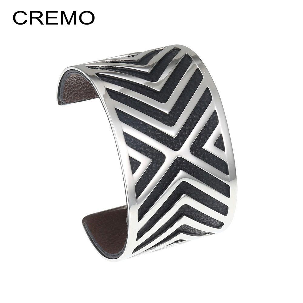 Cremo Conveyor Bangles Für Frauen Edelstahl Armband Argent Femme Manchette Bangle Austauschbare Armband Leder Schmuck