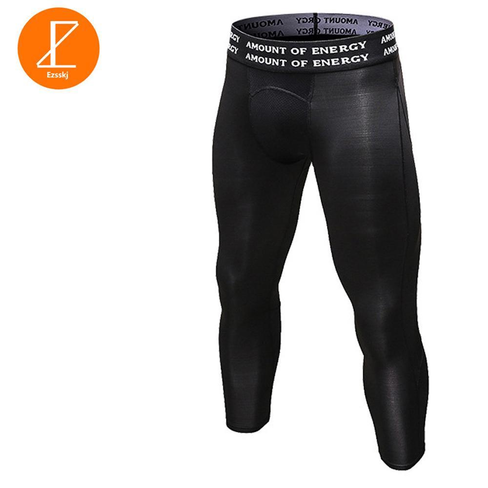 Ezsskj Mens Boys Pantalones de compresión UnderWear 3/4 Pantalones PRO Athletic Apparel Pantalones de malla elástica de elasticidad Blanco