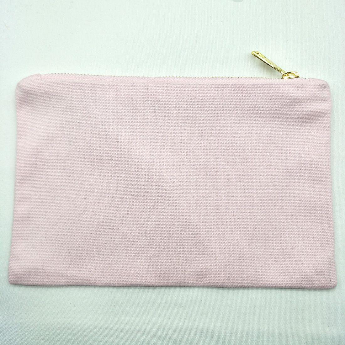 6x9in 라이트 핑크 12oz 캔버스 메이크업 가방, 골드 지퍼 골드 라이닝 베이비 핑크 화장품 가방 세면 도구 파우치 신부 들러리 선물 메이크업 가방 오거나이저