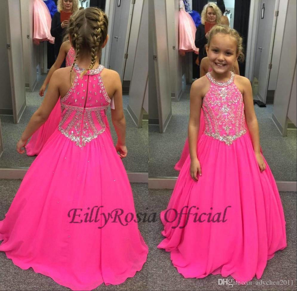 2018 Fuchsia Little Girls Pageant Dresses Maxi Beaded Crystals Sequined Lovely A Line Kids Party Evening Gowns for Weddings Custom Made