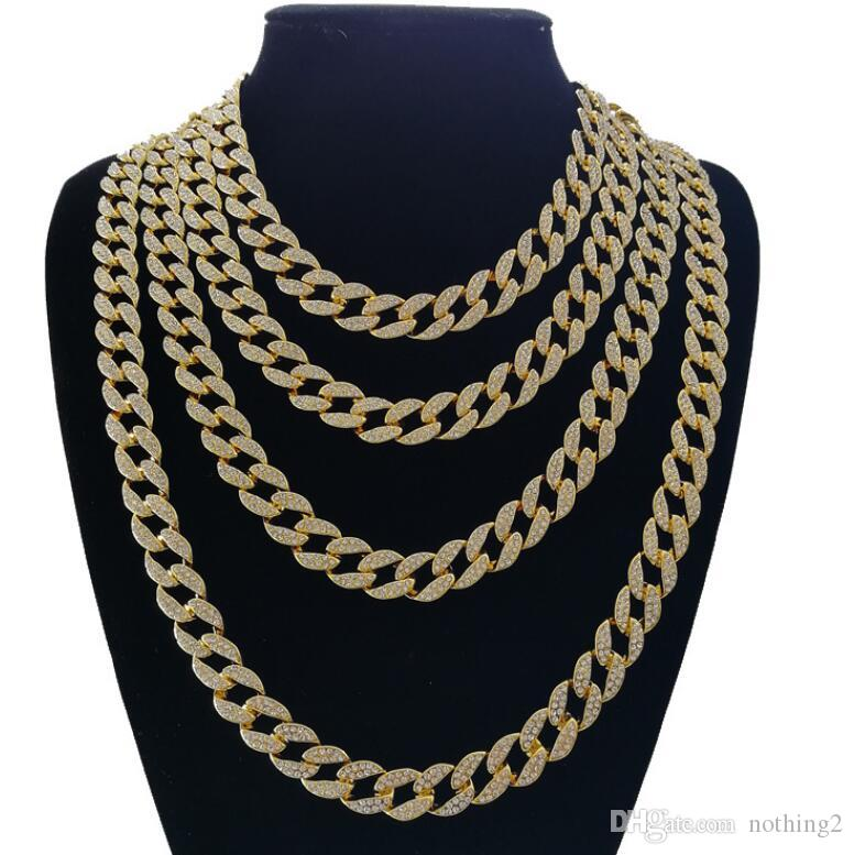jewelry Iced Out Bling Rhinestone Crystal Goldgen Finish Miami Cuban Link Chain Men's Hip hop Necklace Jewelry 18, 20, 24, 30 Inch