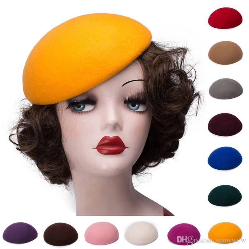 نقية اللون دائرة الصوف ورأى قبعة مستديرة قبعة القبعات الدمعة fascinator قاعدة ربط طريقة حبل مشط كوكتيل حزب a048