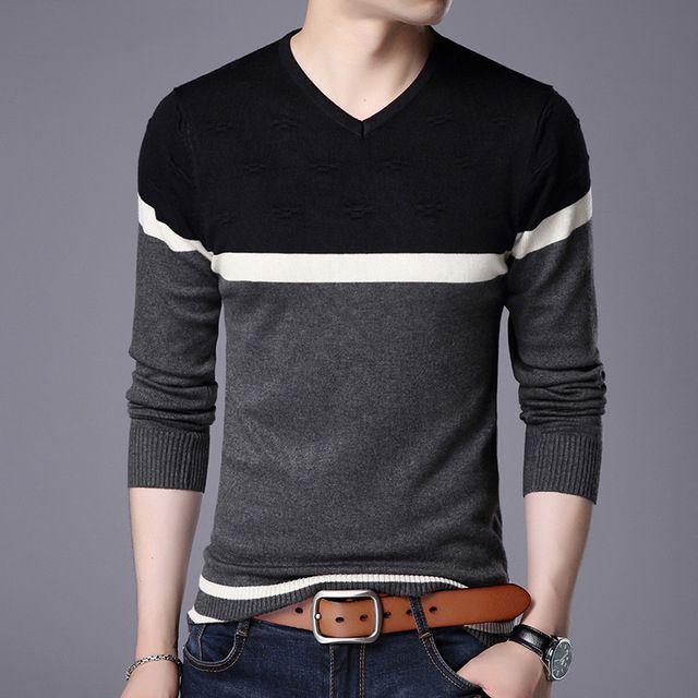 Suéter de los hombres Suéter con cuello en V Suéteres de corte slim casuales Camisetas de manga larga