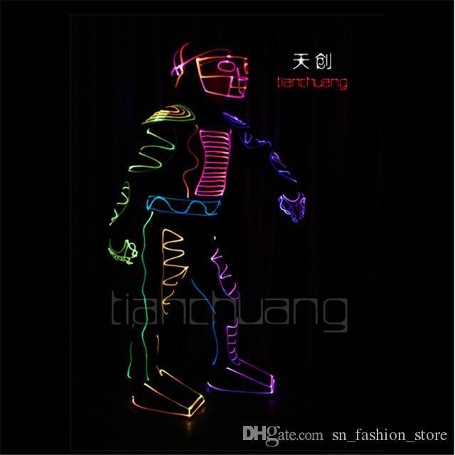 TC-103 Program design colorfu led light costumes fiber luminous party disco bar wear clothes ballroom dance robot clothing suit performance