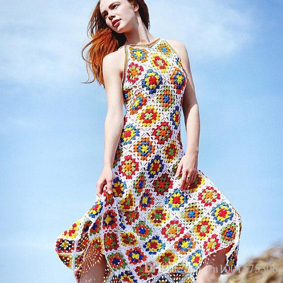 Women hippie crochet dress, handmade gypsy dress,summer clothing, boho style, straps handmade,cotton,gift ideas