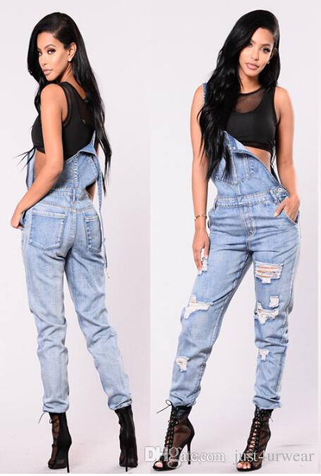 Mulheres Macacões denim lavado Jeans Fatos-macaco calças compridas Calças Moda High Street Jeans frescos Ternos mulheres roupas soltas Jeans Outfit