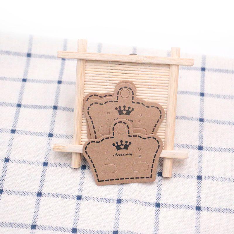 500Pcs Kraft Paper Ear Stud Hang Tag Jewelry Display Card Earring Kraft Paper Tag Ear Ring Paper Hang Price Tag 5*4cm