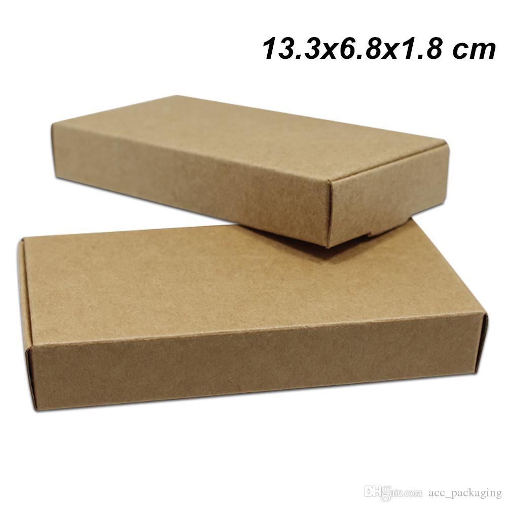 13.3x6.8x1.8 cm 30 Pçs / lote Marrom Kraft Papel Handmade Soap Boxes para Doces Do Bolo de Supermercado Cartão de Embalagem Do Cartão Presentes Do Partido Artes Artesanato Caixas De Armazenamento