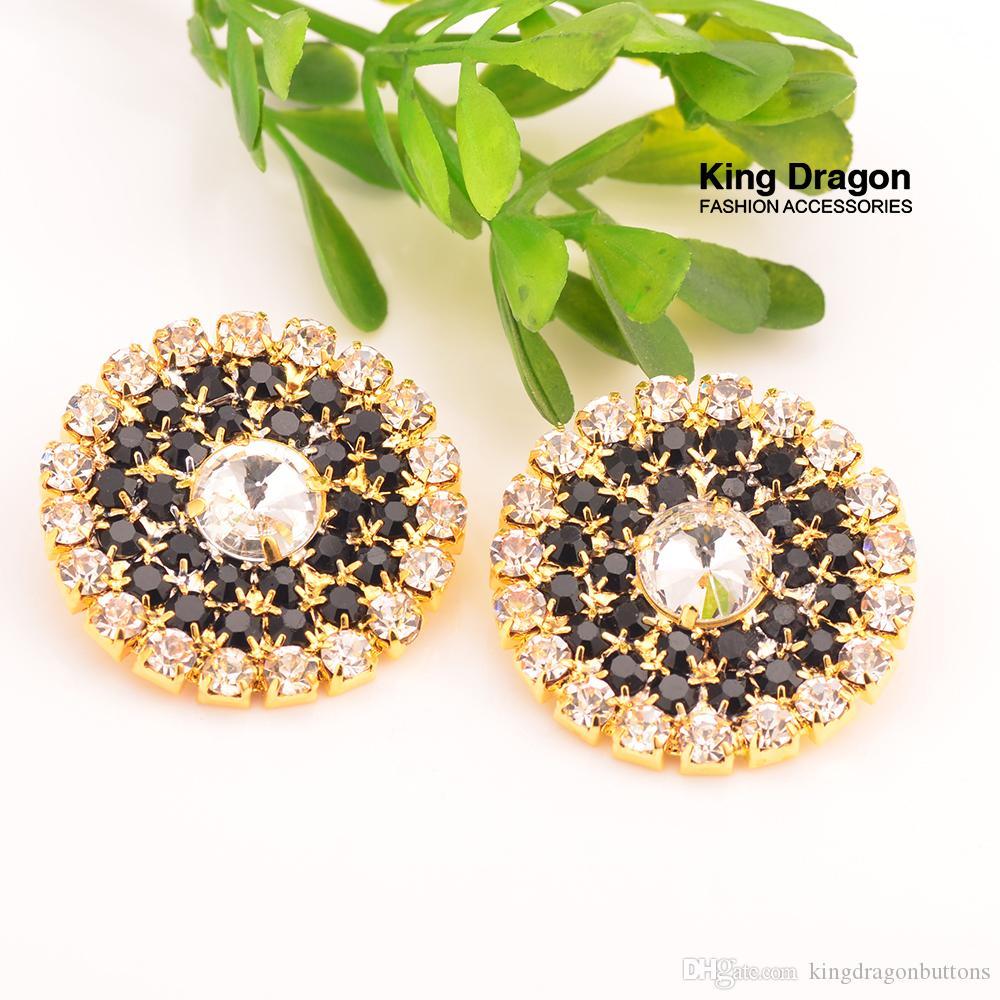 Chegada Nova Sparkly Black Crystal Decoração Rhinestone Botões 27MM 20PCS / Lot Shank Voltar cor do ouro KD50