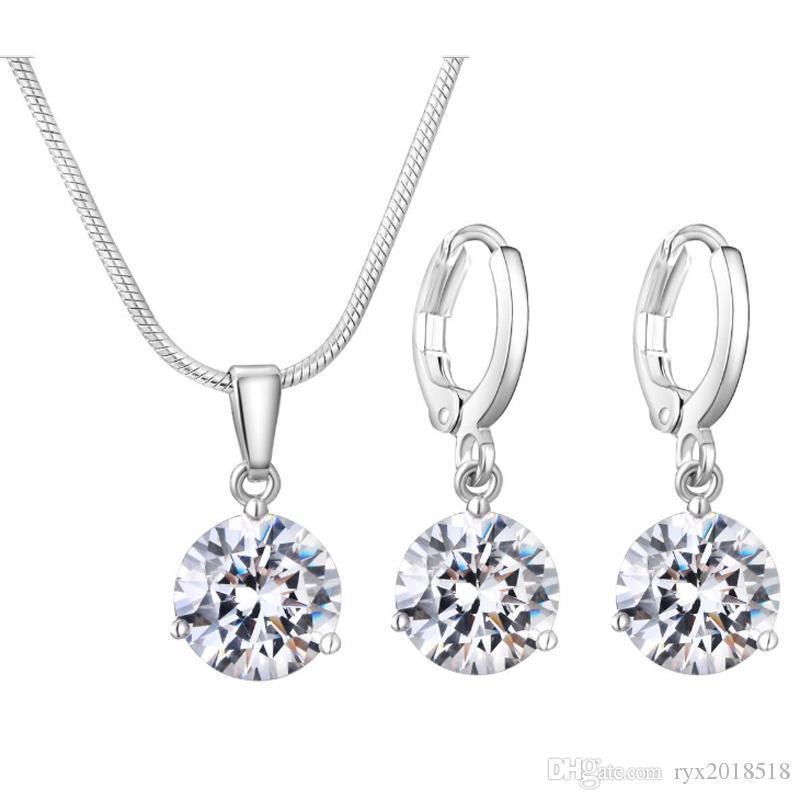Alta qualità Micro Pave Crystal Zircone orecchini collana imposta da sposa gioielli di fidanzamento di fidanzamento insieme dei monili del partito di modo regali