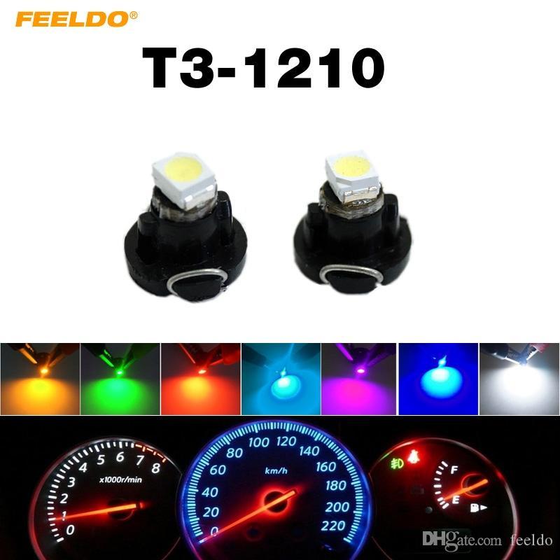 FEELDO 50PCS DC12V T3 1210/3528 칩 1LED 자동차 대시 보드 미터 패널 전구 LED 전구 7 색 # 4448