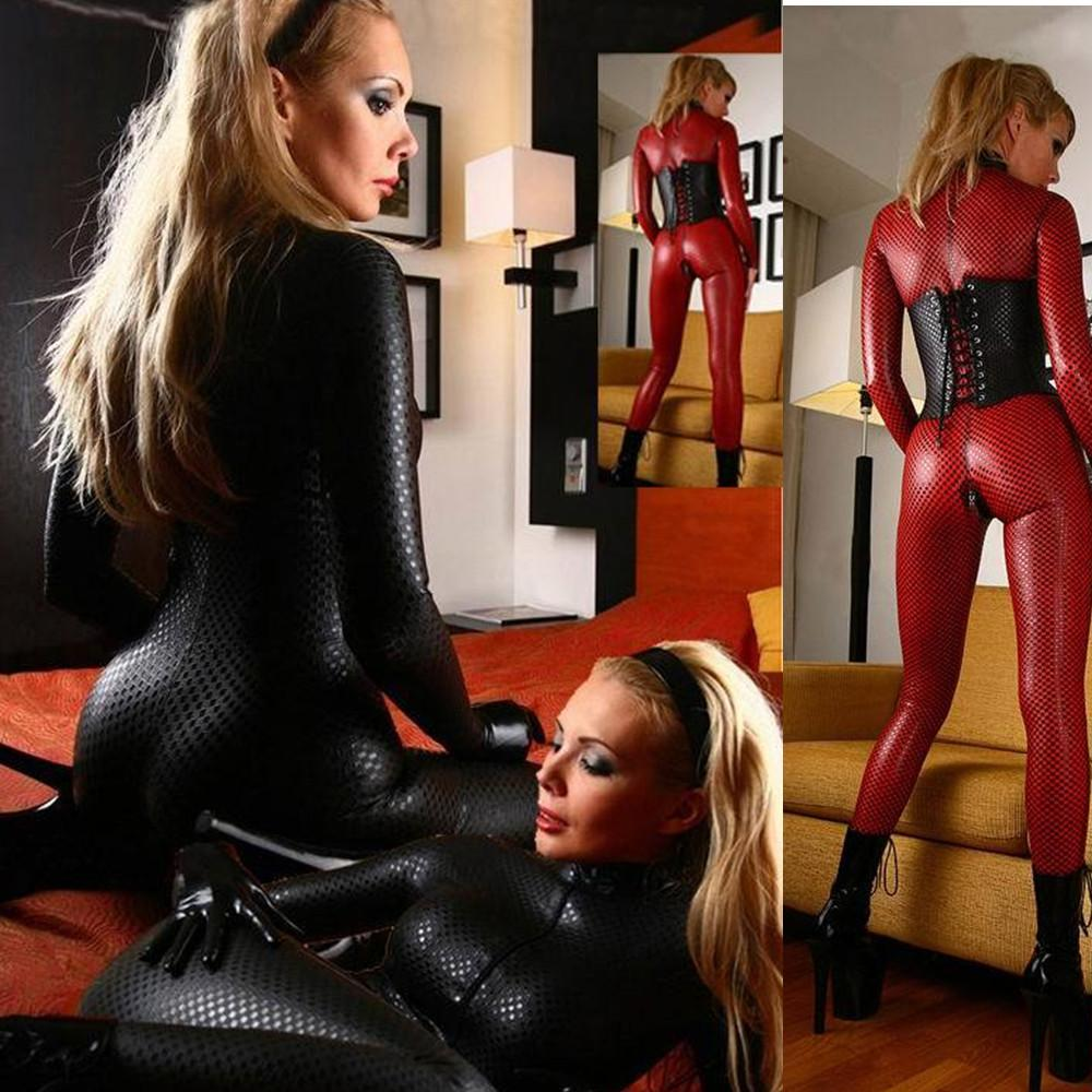 Faux Leather Double Way Zipper Sexy Latex Catsuit ClubWear Erotic Jumpsuit Lingerie Bondage Bodysuit Night Club Dance wear 2017