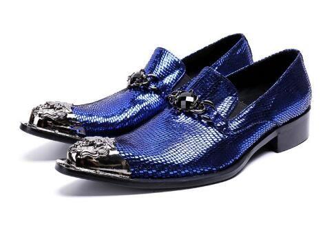 Uomo Luxury Fashion Blue Metal scarpe a punta Oxfords Scarpe Nightcub Party Shoes Catena altezza crescente Scarpe da sposa