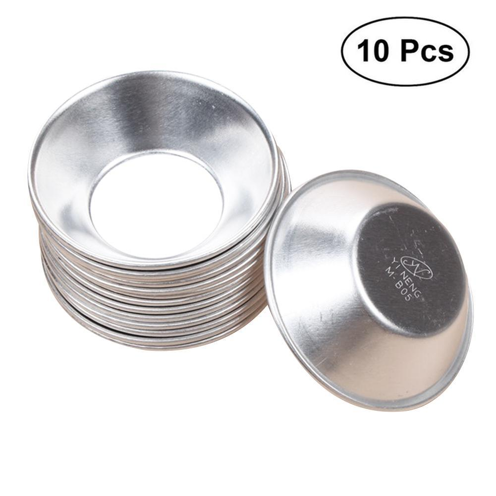 10pcs/Set Aluminum Alloy Round Egg Tart Mold Eco-friendly DIY Cake Tarts Mould Bakeware Baking Tools 7cm Diameter Small Size