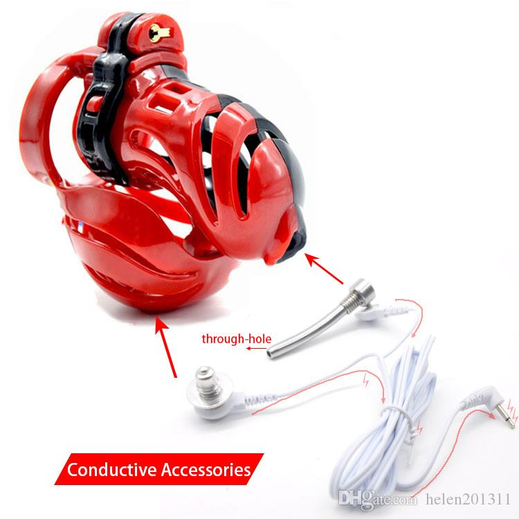 Male 3D Design Polyethylene Chastity Cage Shock Integrative Electric Cock CageA390