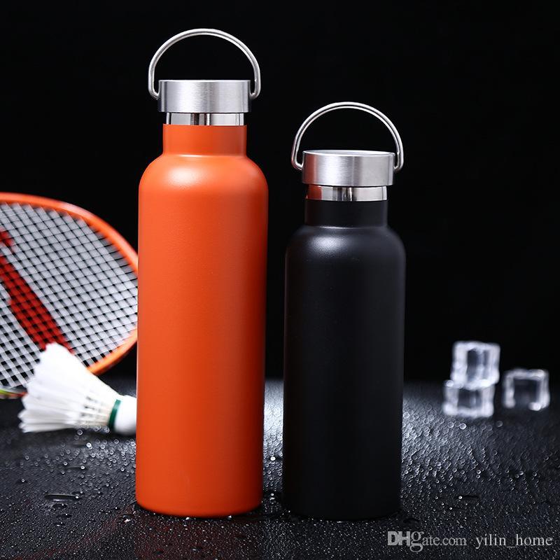 휴대용 진공 컵 304 스테인레스 스틸 스포츠 주전자 야외 보온병 여행 물병 검은 색과 오렌지색