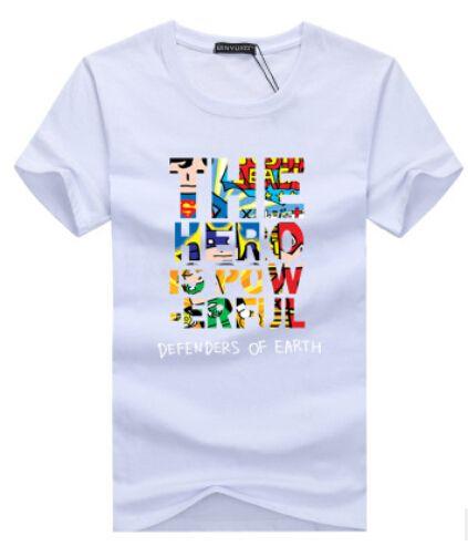 LES DÉFENSEURS DU HÉRO DE LA TERRE Lettre Multicolore Imprimer Hommes Femmes Manches Courtes T-shirts D'été Casual Mode Tees Tops Tops Vêtements Homme