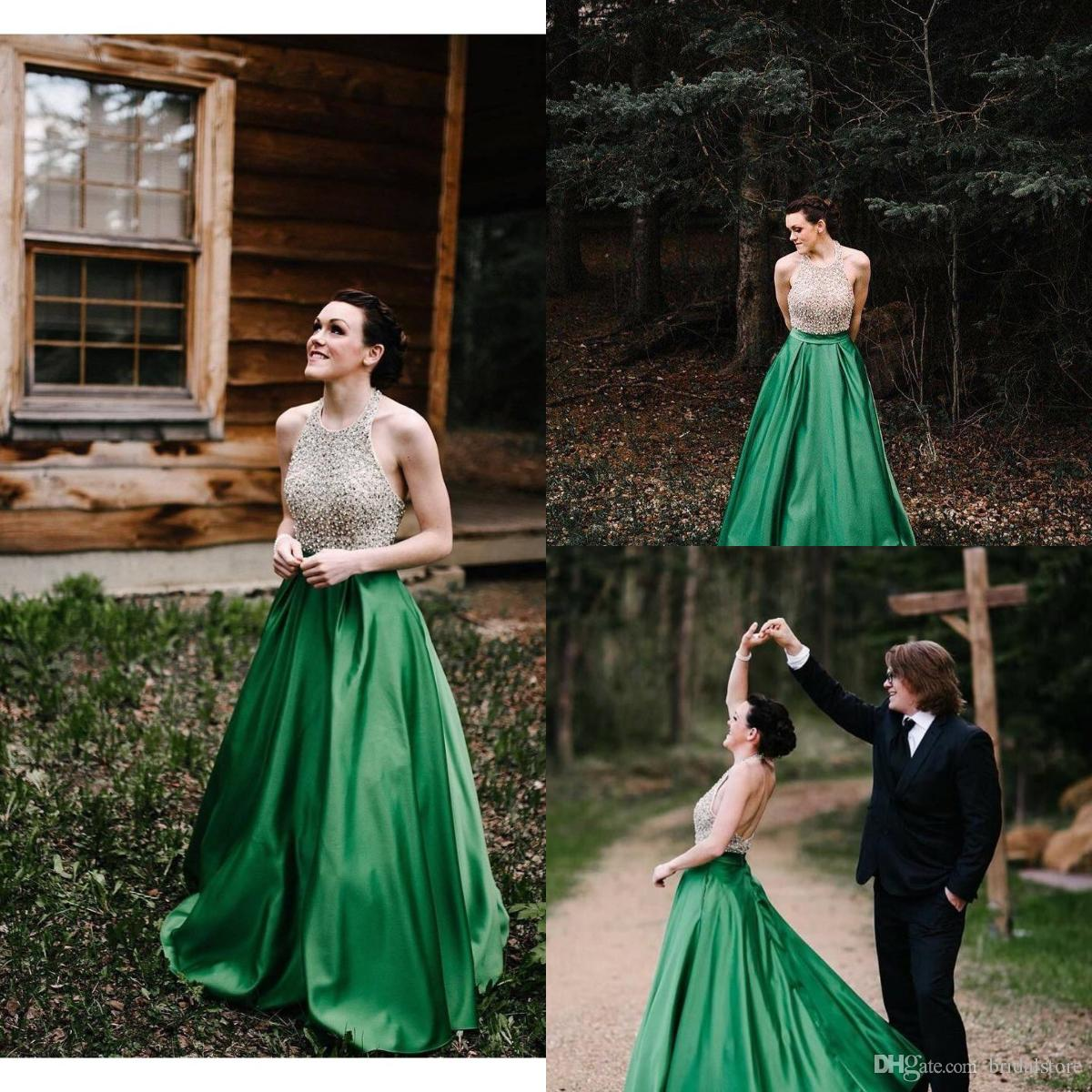 Classics Emerald Top Beaded Prom Dresses Halter Sexy Backless Satin Evening Gowns Country Formal Summer Vintage robes de soirée 2019 aline