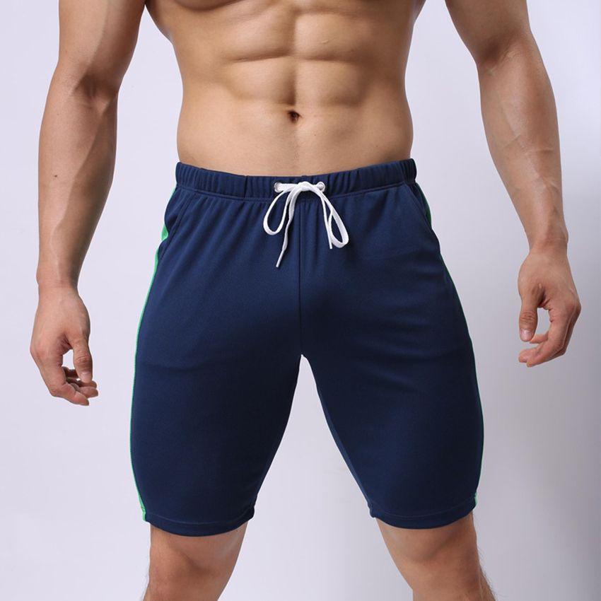 2018 Yeni Moda Renk Eşleştirme Rahat erkek Şort İpli Spor Rahat Patchwork Diz Boyu Şort Cesur Erkekler için