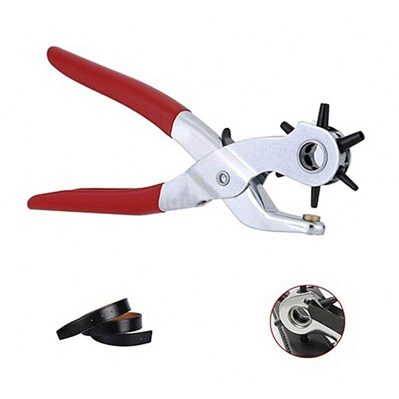 Perforateur en cuir perforateur avec 6 têtes de poinçon standard Pilers manuels pour trous de poinçonnage Perforateur portatif en acier au carbone perforateur