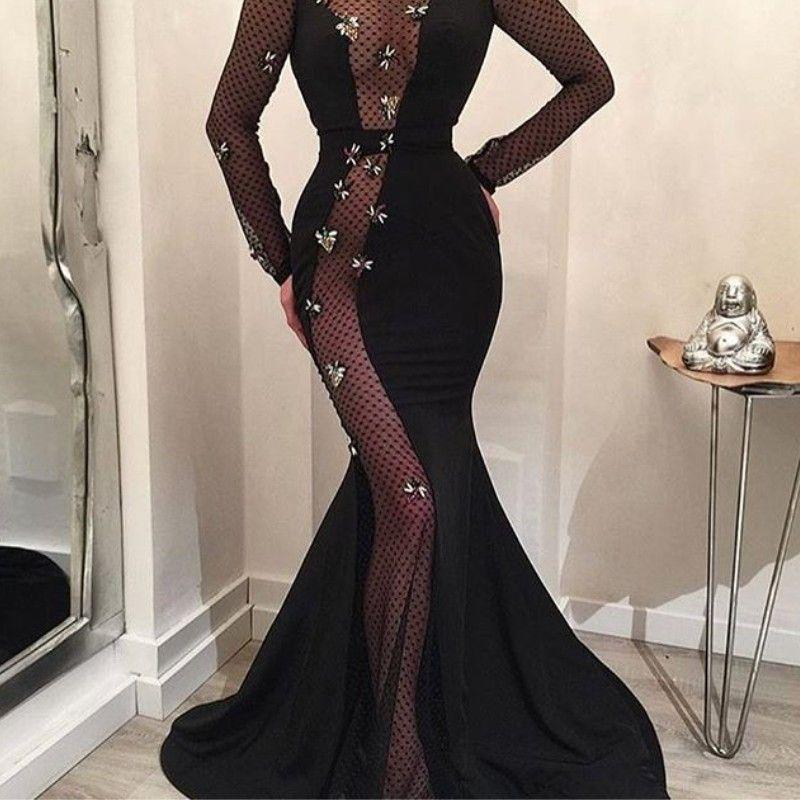 Gorgeous Dubai Rhinestone Evening Dress Beads Crystal Jewel Neck Long Sleeve Evening Gown Sexy Side See Through Mermaid Prom Dress