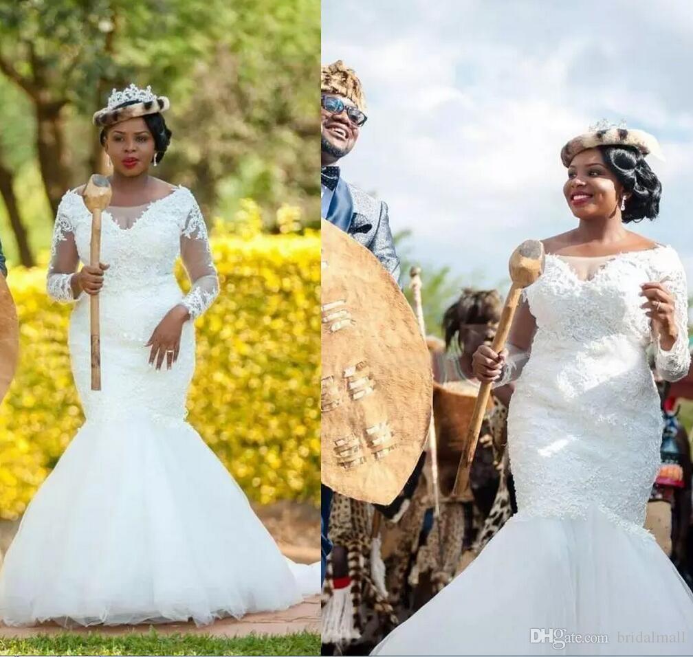 Vestidos de boda de la sirena del cordón del tamaño extra grande Sheer Long Sleeves Vestidos de novia sudafricanos Tulle Sweep Train Wedding Vestidos de novia por encargo
