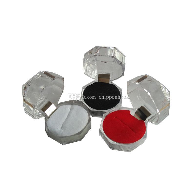 20Pcs Acrylic Ring Box Clear Cheap Box Wedding Crystal Diamond Ring Stud Dust Plug Storage Package Gift Box 4*4*4 cm 3Color Choice